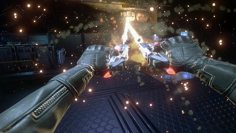 Dual pistols first-person shooter, Aeon VR game screenshot