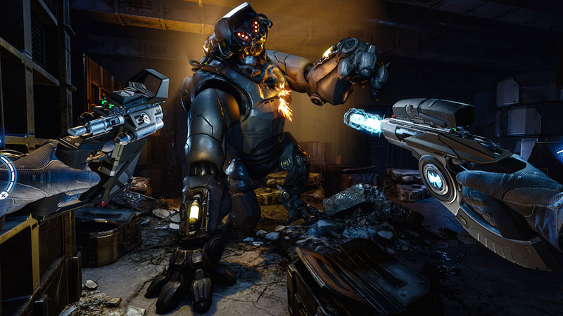 Two guns pointed at a mechanics robot, Arktika.1 game screenshot