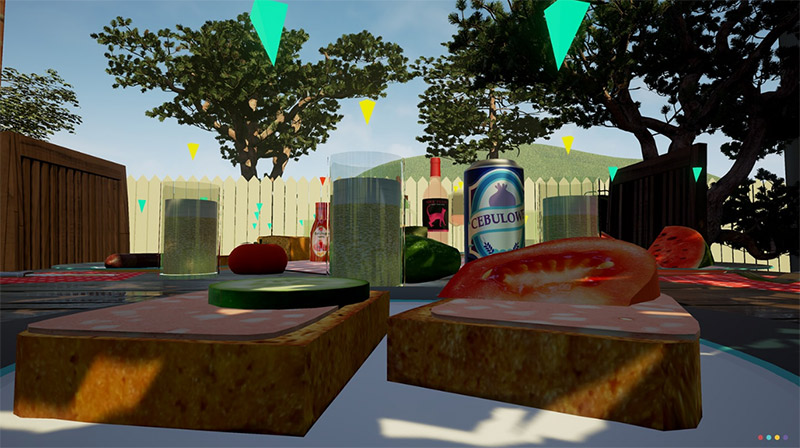 Picnic food on table backyard, Be a Bee video game screenshot