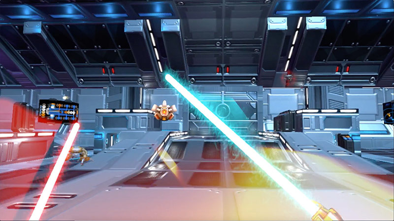 Blue and red light swords, Bladeshield videogame screenshot