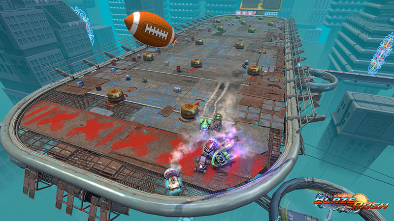 Football game with cars on a grungy stadium, BlazeBowl add-on screenshot