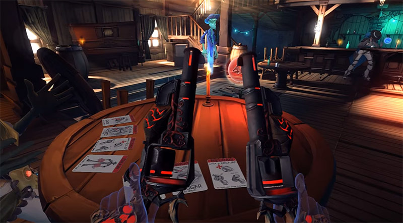 Two revolvers in Western saloon background, Dead and Buried game screenshot