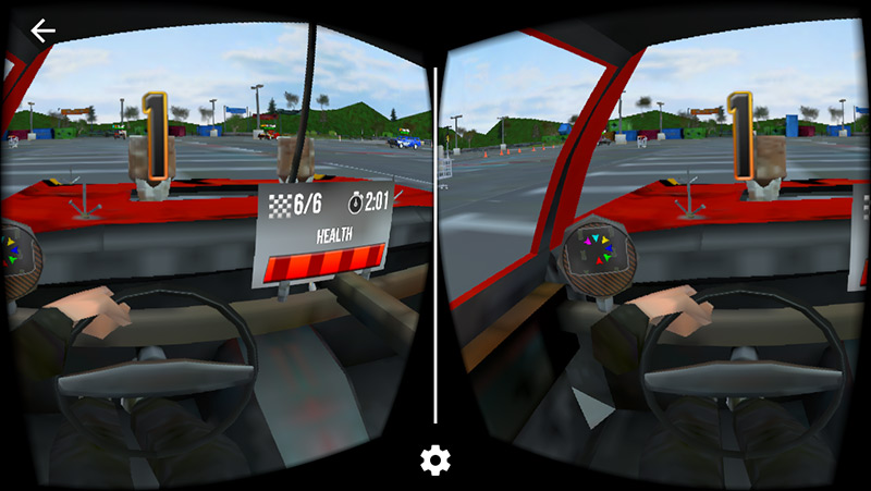 Demolition Derby VR in-game screenshot driving in a parking lot