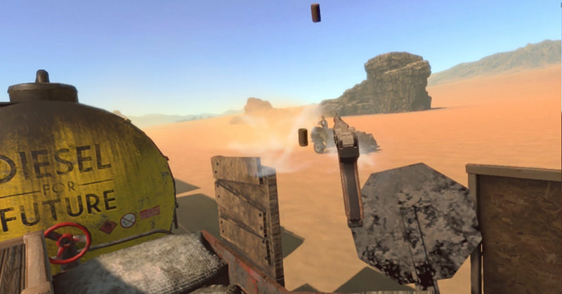 Shooting with a pistol from the train, Diesel Express VR game screenshot