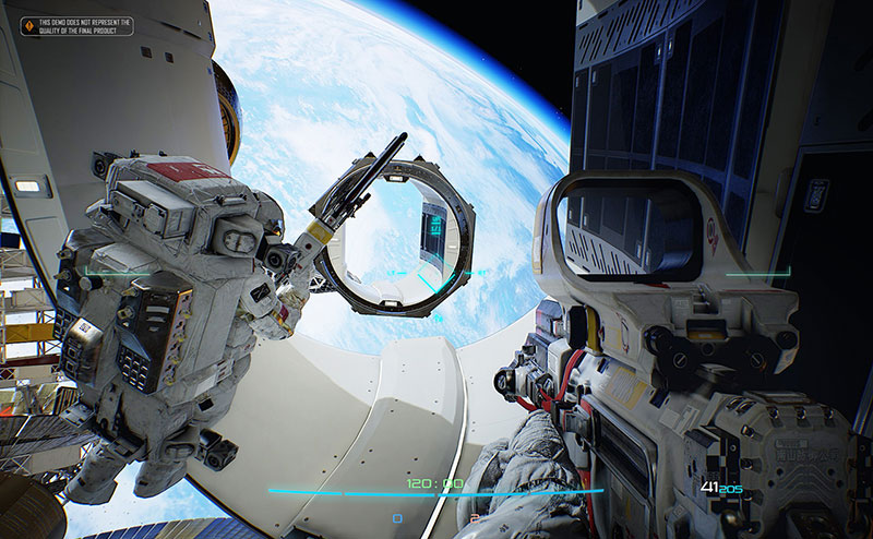 Frontier game screenshot, space first person shooter