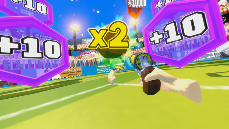 Pistol shooting a ball with 2x bonus score, Gunball VR game screenshot