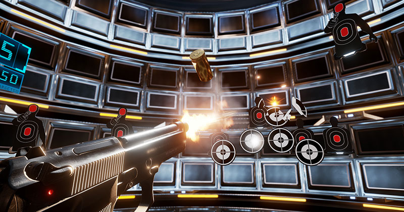 Pistol Shooting gallery shooting targets, Leathal VR videogame screenshot