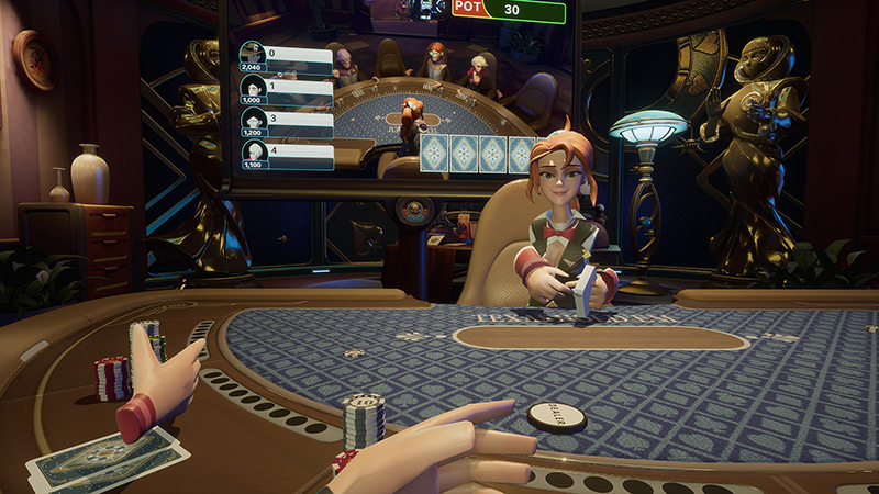 Lucky Night Texas Holdem VR game screenshot
