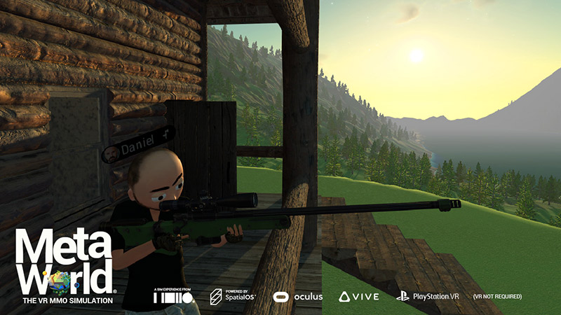 Players shooting with a hunting rifle, MetaWorld videogame screenshot