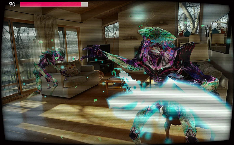 Augmented Reality monsters in a room, Phantogeist game screenshot