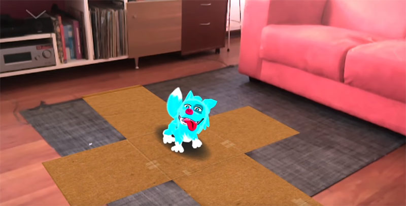 virtual blue pet in a living room, Raise augmented reality game screenshot