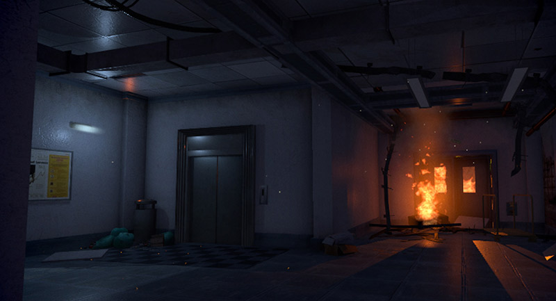 Fire in a corridor inside a building, Survivor VR game screenshot