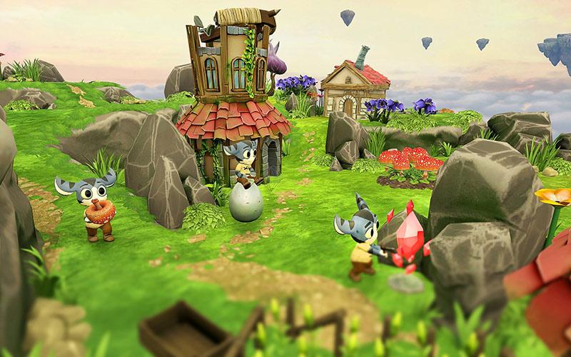 Tethered game screenshot, peeps working in their village