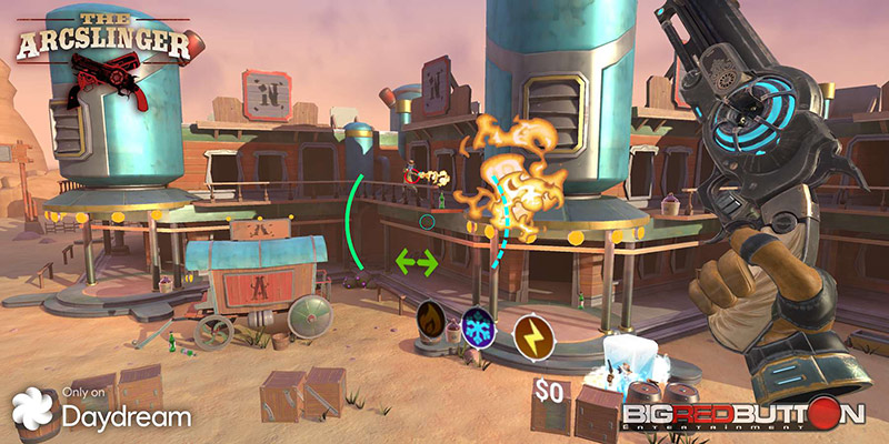 Cyber cartoonish western town with a hand holding a pistol, The Arcslinder game screenshot