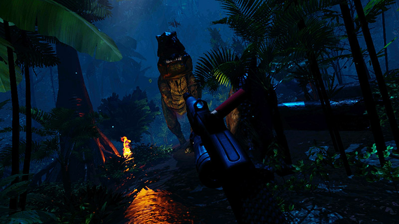 First person shooter with a dinosaur in a jungle at night