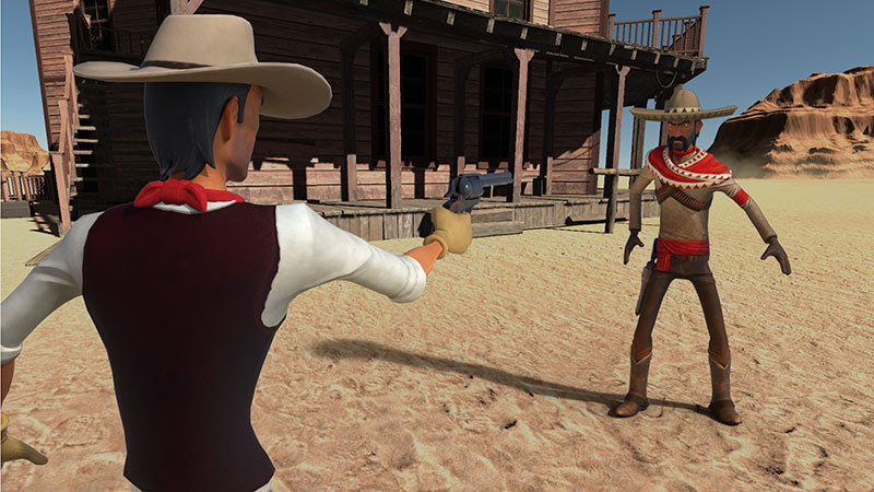 Two Western duelist cowboys in Unforgiven VR game screenshot